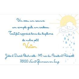 Carte de Remerciement Baptême Jour de Soleil pas cher