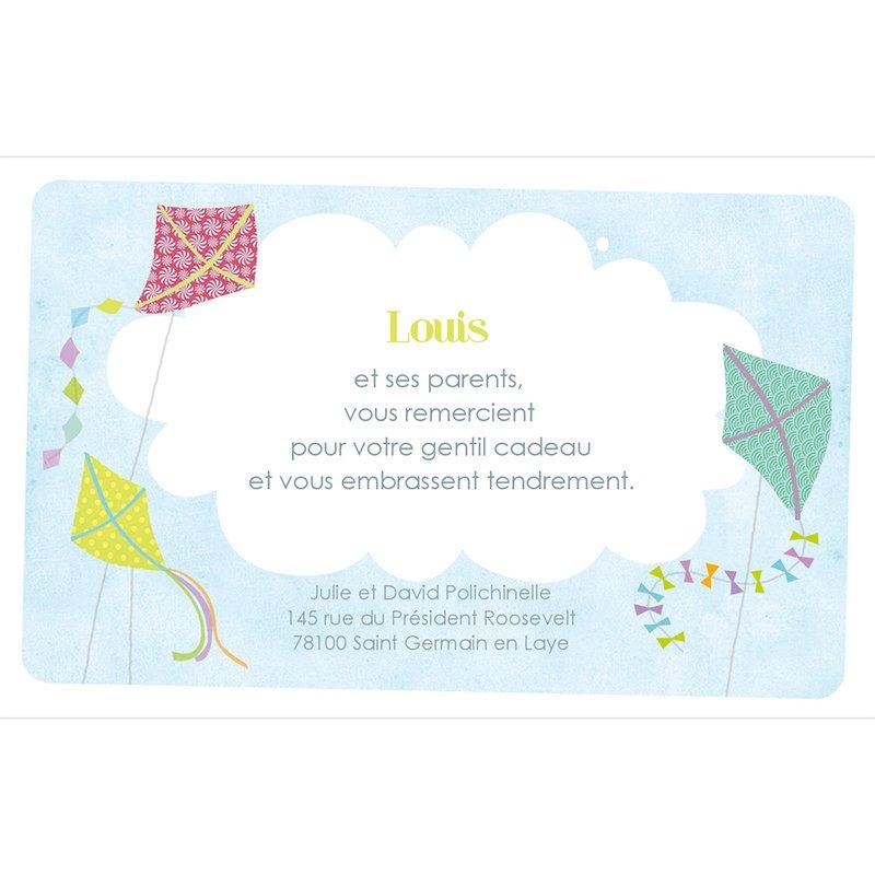 Carte de Remerciement Naissance Cerf-Volant garçon pas cher