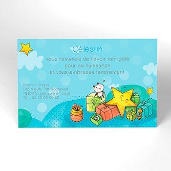 Carte de Remerciement Naissance Petite Etoile bleu personnalisé