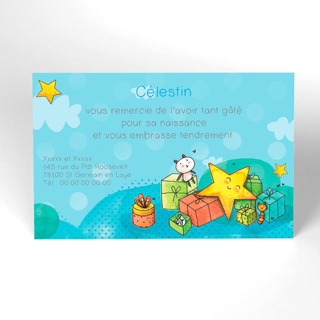 Carte de Remerciement Naissance Petite Etoile bleu