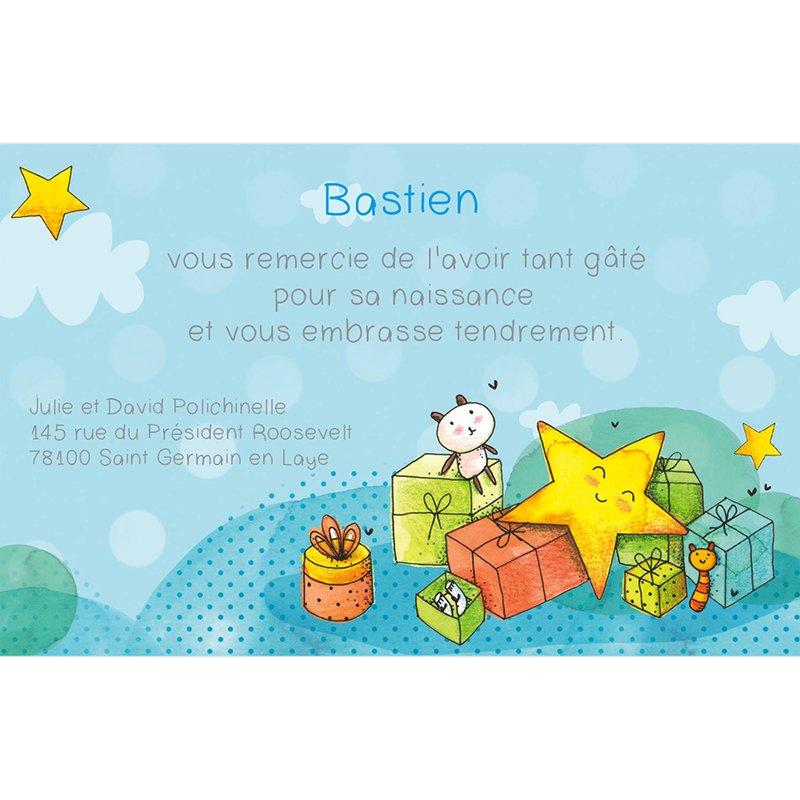 Carte de Remerciement Naissance Petite Etoile bleu pas cher