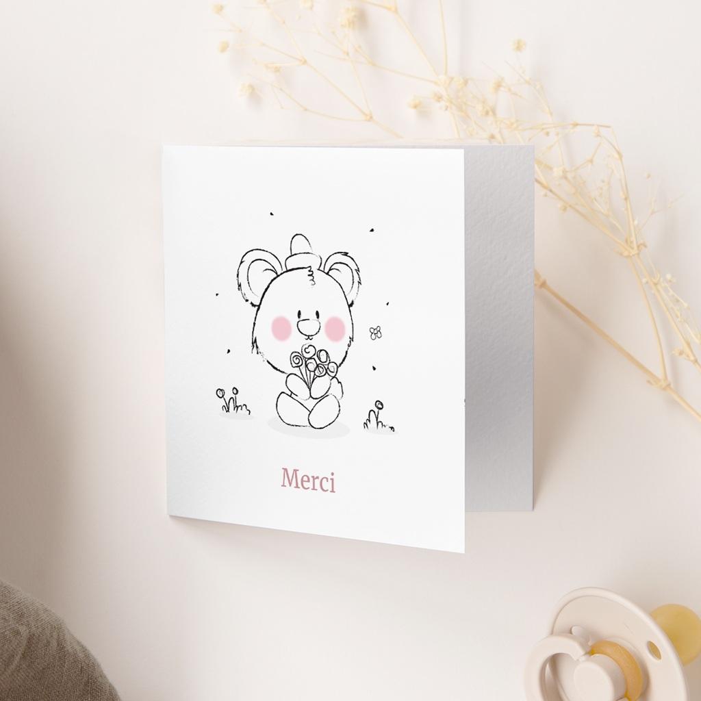Carte de Remerciement Naissance Petit Ourson gratuit