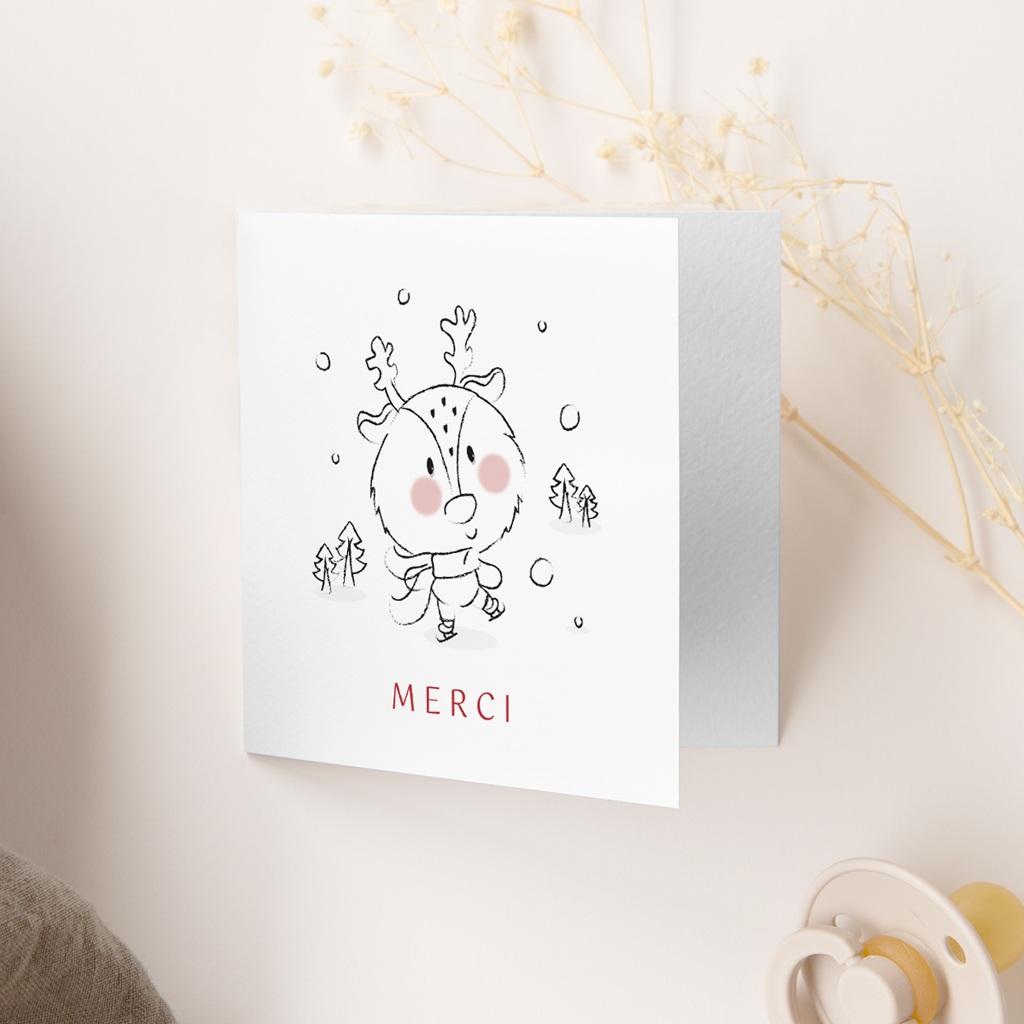 Carte de Remerciement Naissance Petit cerf gratuit