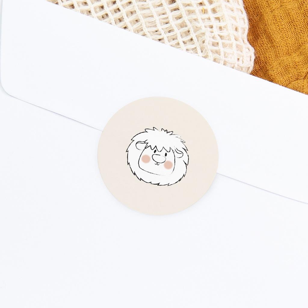 Sticker Enveloppe Naissance Petit Lion gratuit