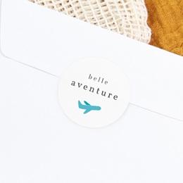 Sticker Enveloppe Naissance Billet d'avion bleu, 4, 5 cm gratuit