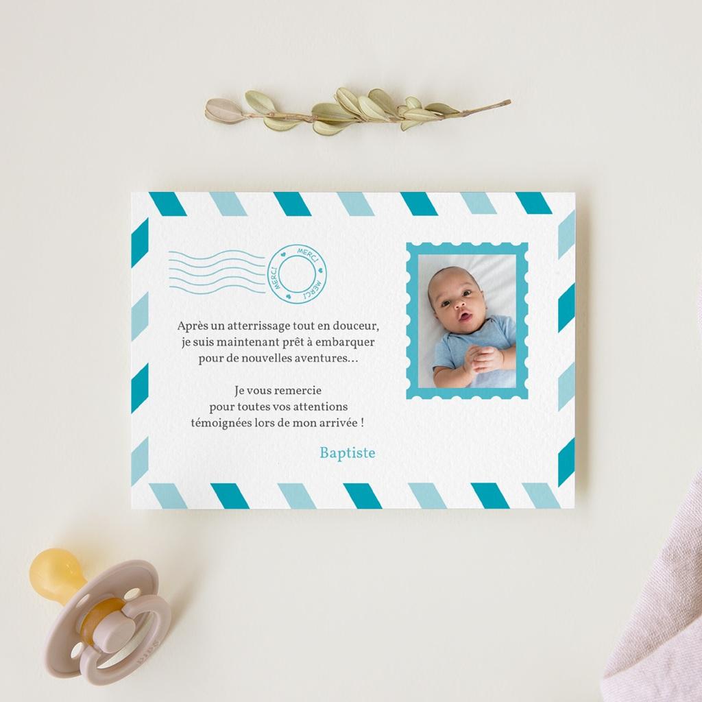 Carte de Remerciement Naissance Billet d'Avion bleu gratuit