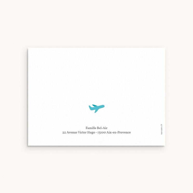 Carte de Remerciement Naissance Billet d'Avion bleu pas cher