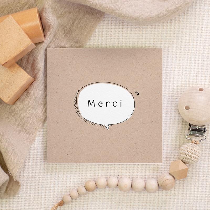 Carte de Remerciement Naissance Kraft et Pictos, 10 x 10 gratuit