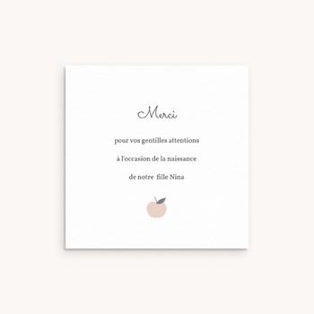 Carte de Remerciement Naissance Motif Pomme Rose pas cher