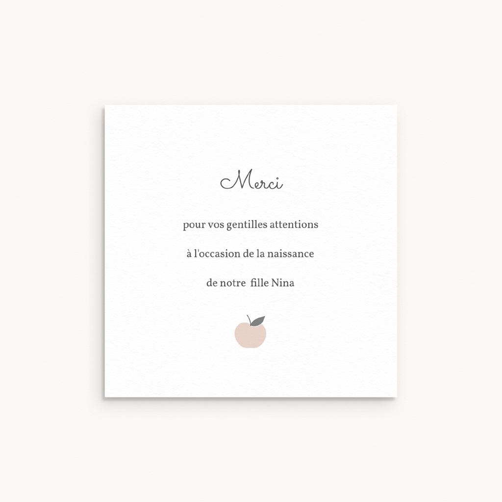 Carte de Remerciement Naissance Motif Pomme Rose