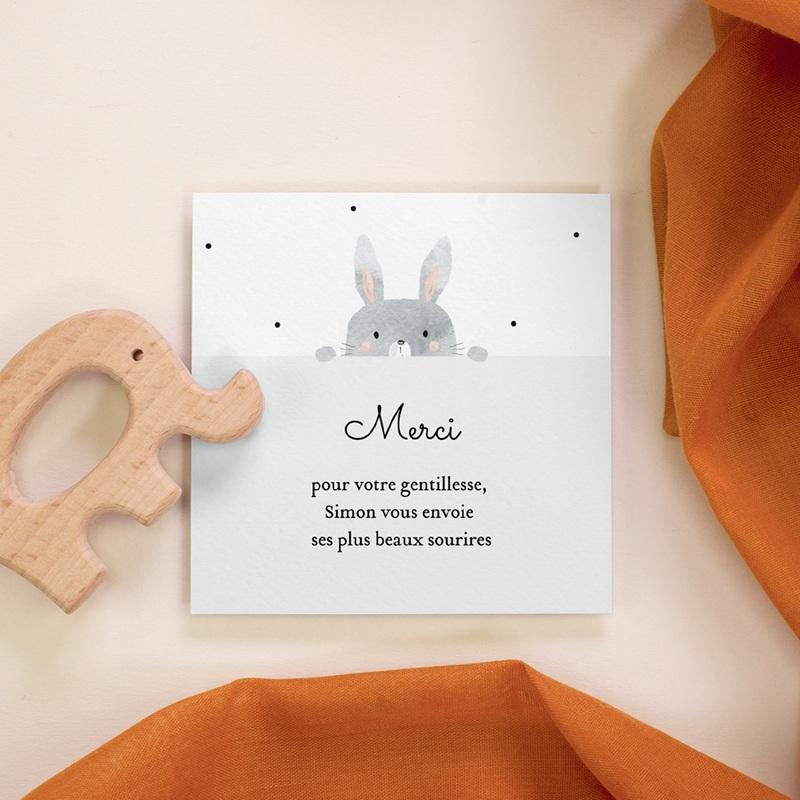 Carte de Remerciement Naissance Lapin Coucou, 10 x 10 cm