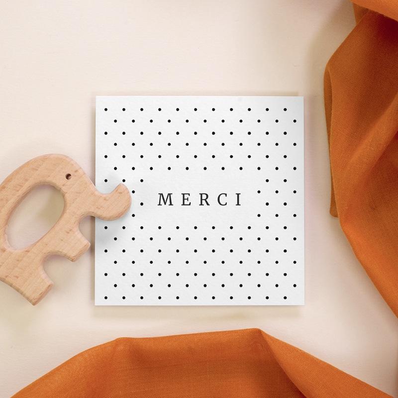 Carte de Remerciement Naissance Pois Design