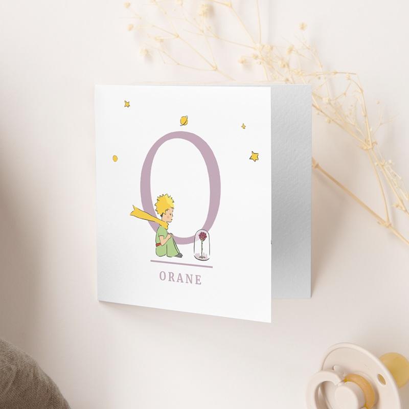 Faire-part de Naissance Initiale de la Rose, 9,5 x 9,5 gratuit