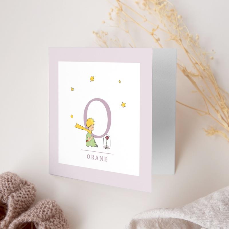 Faire-part de Naissance Initiale de la Rose, Mauve gratuit