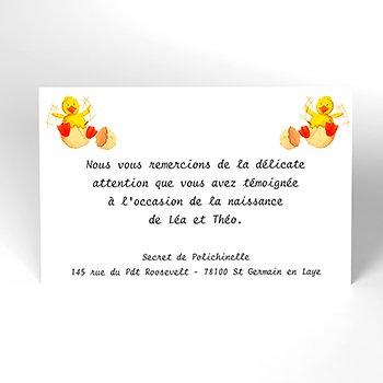 Carte de Remerciement Naissance Coquille jumeaux personnalisé