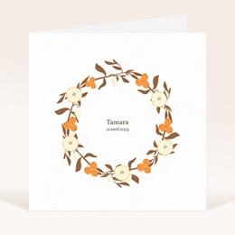 Faire-part de Naissance Couronne d'oranges et fleurs
