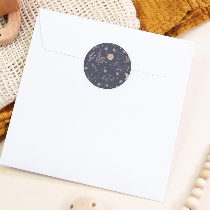 Sticker Enveloppe Naissance Hymne à la nature, bleu gris pas cher