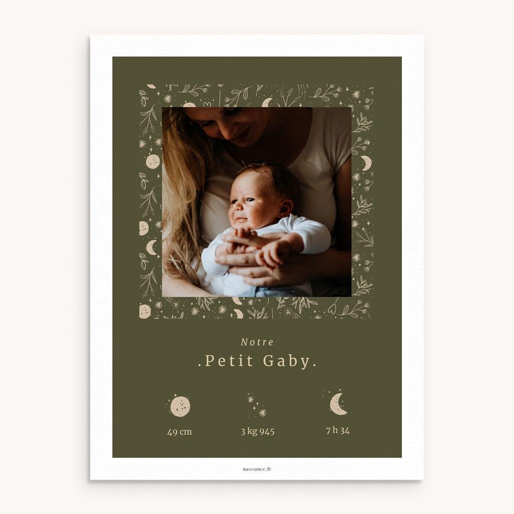 Affiche Déco Chambre Enfant Chant de la nature, Kaki