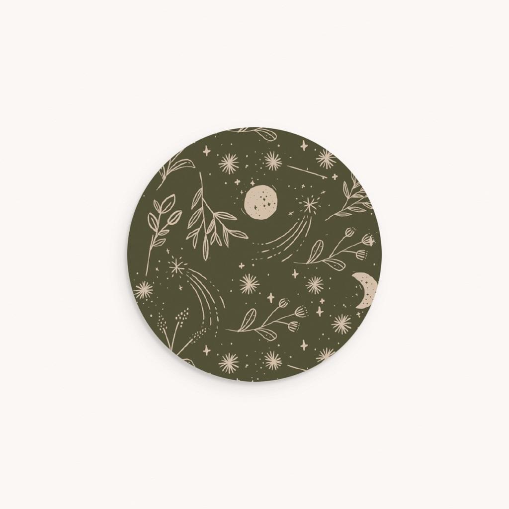 Sticker Enveloppe Naissance Chant de la nature, Vert Kaki