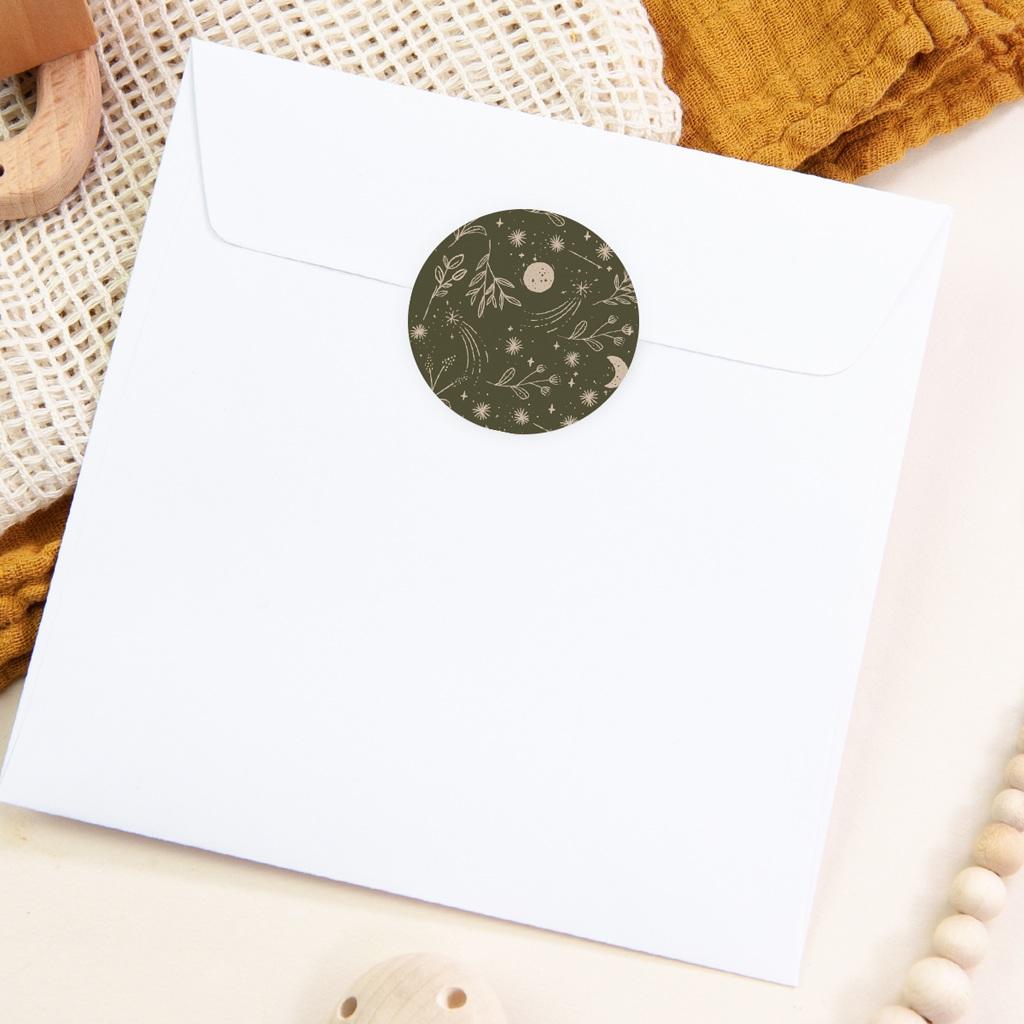 Sticker Enveloppe Naissance Chant de la nature, Vert Kaki pas cher