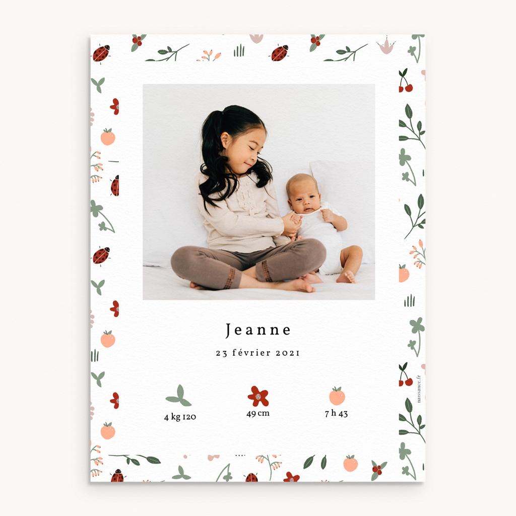 Affiche Déco Chambre Enfant Coccinelles, cerises & trèfle