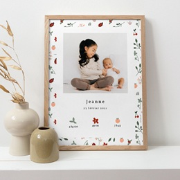 Affiche Déco Chambre Enfant Coccinelles, cerises & trèfle pas cher