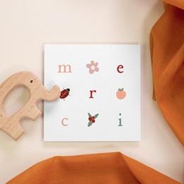Carte de Remerciement Naissance Lettres d'amour, printemps