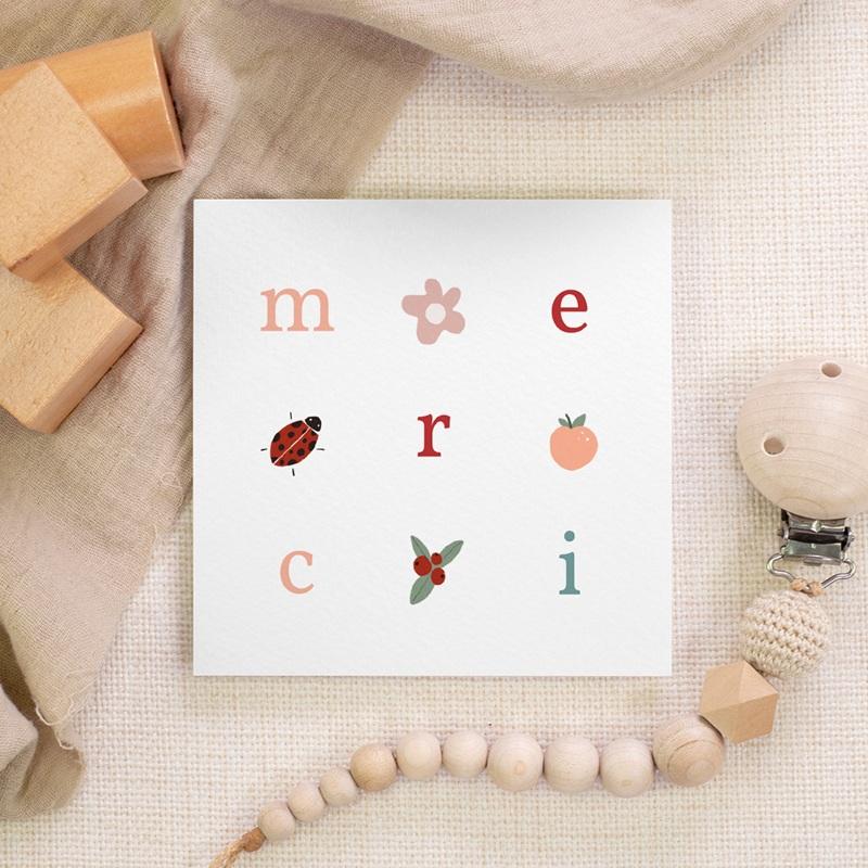 Carte de Remerciement Naissance Lettres d'amour, printemps gratuit