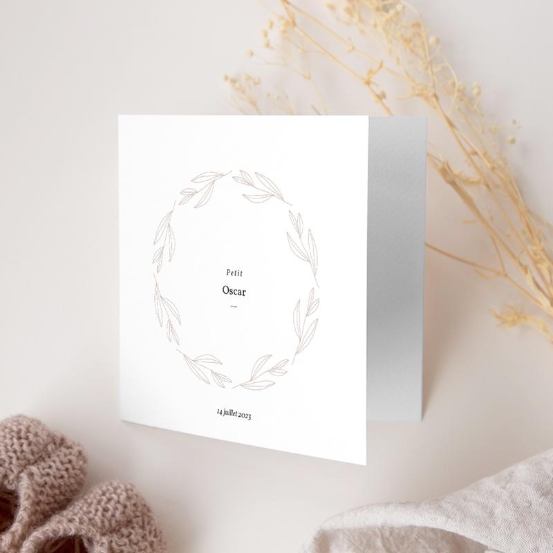 Faire-part de Naissance Couronne Monochrome Blanc gratuit