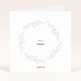 Faire-part de Naissance Petite Couronne, Blanc Monochrome