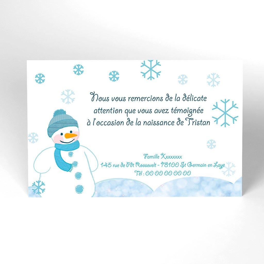 Carte de Remerciement Naissance Flocon