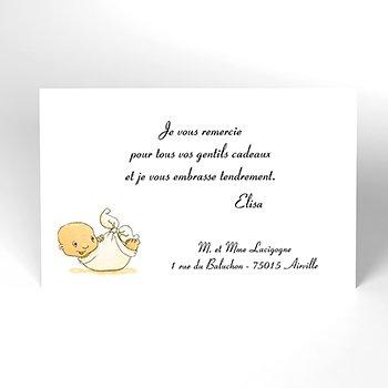 Carte de Remerciement Naissance La Cigogne bleu personnalisé