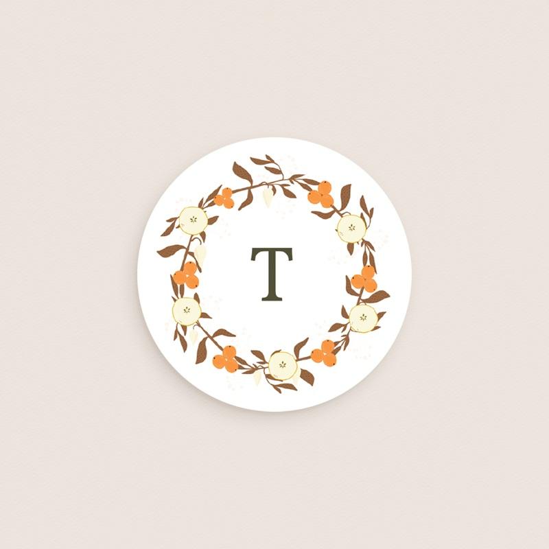Sticker Enveloppe Naissance Couronne de fleurs et d'oranges, initiale gratuit
