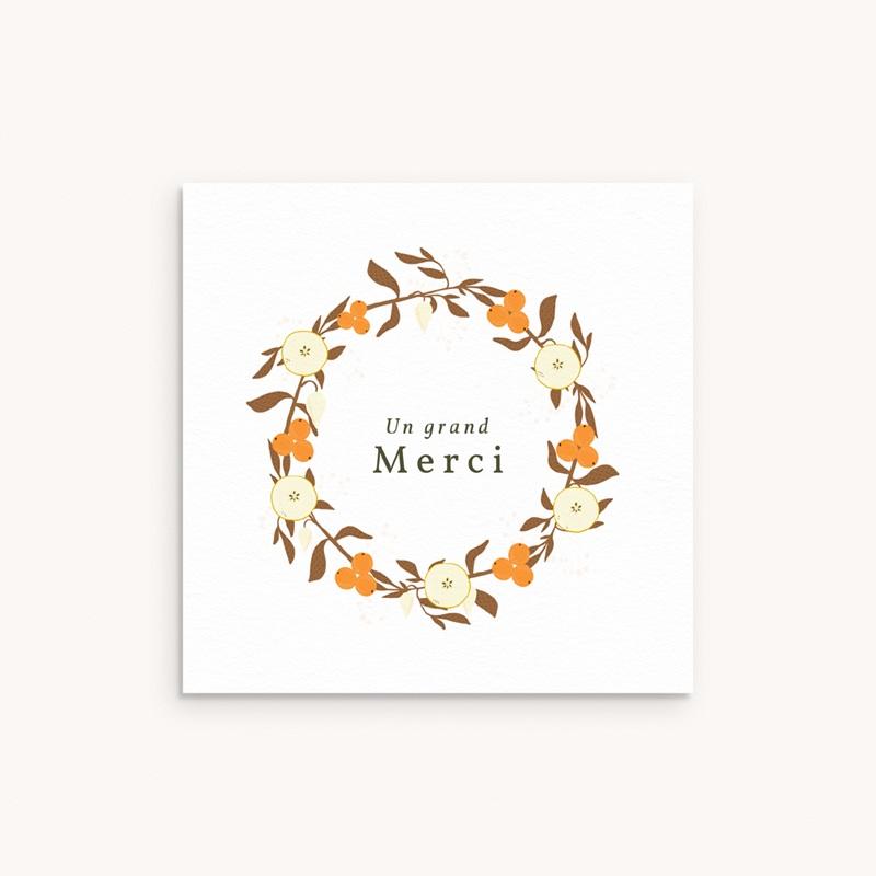 Carte de Remerciement Naissance Couronne d'oranges, 10 x 10