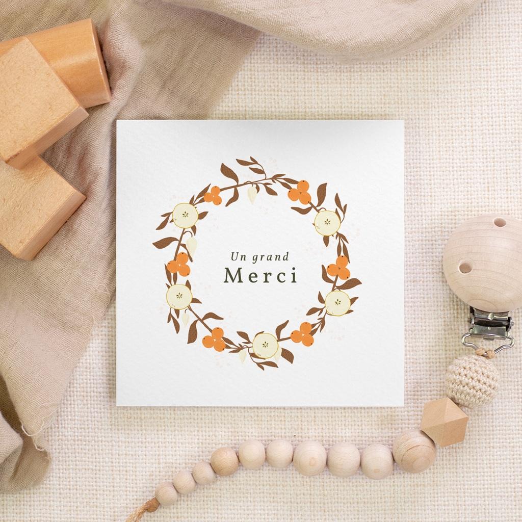 Carte de Remerciement Naissance Couronne d'oranges, 10 x 10 gratuit