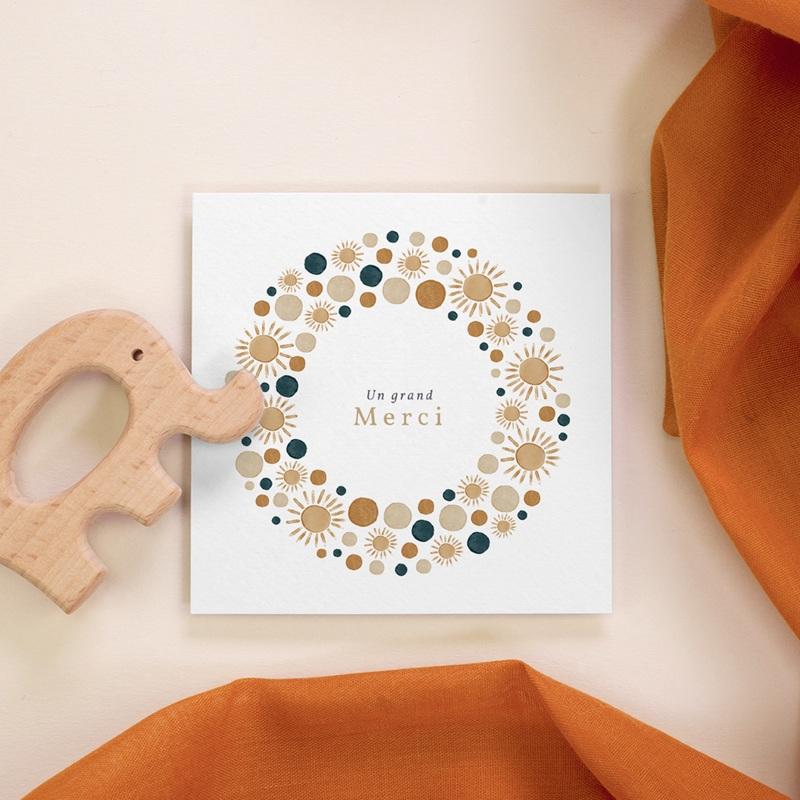 Carte de Remerciement Naissance Univers ensoleillé, 10 x 10