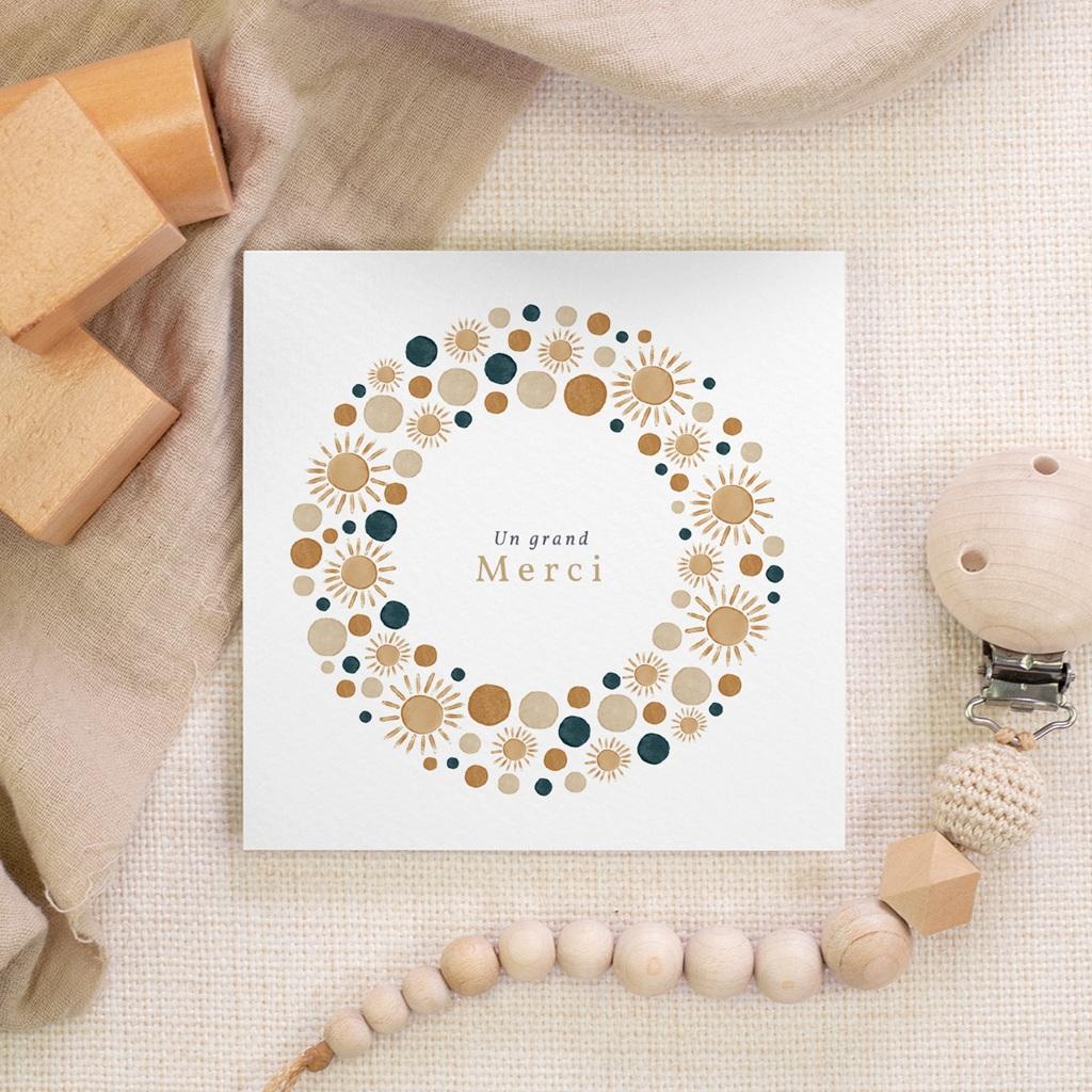 Carte de Remerciement Naissance Univers ensoleillé, 10 x 10 gratuit