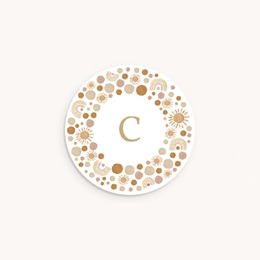 Sticker Enveloppe Naissance Galaxie ensoleillée, couronne et initiale