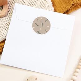 Sticker Enveloppe Naissance Liberty beige, Sticker à motif floral pas cher