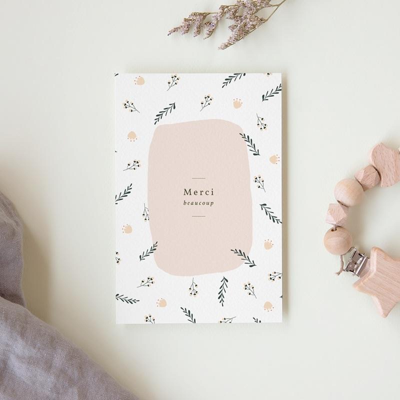 Carte de Remerciement Naissance Liberty beige rosé