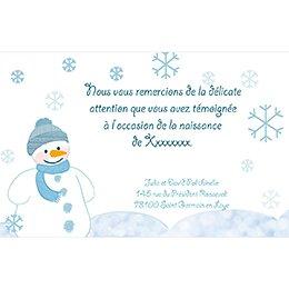 Carte de Remerciement Naissance Flocon pas cher