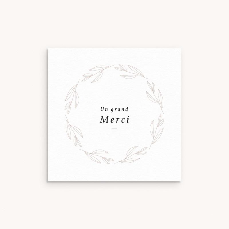 Carte de Remerciement Naissance Couronne Monochrome Blanc, 9,5 x 9,5