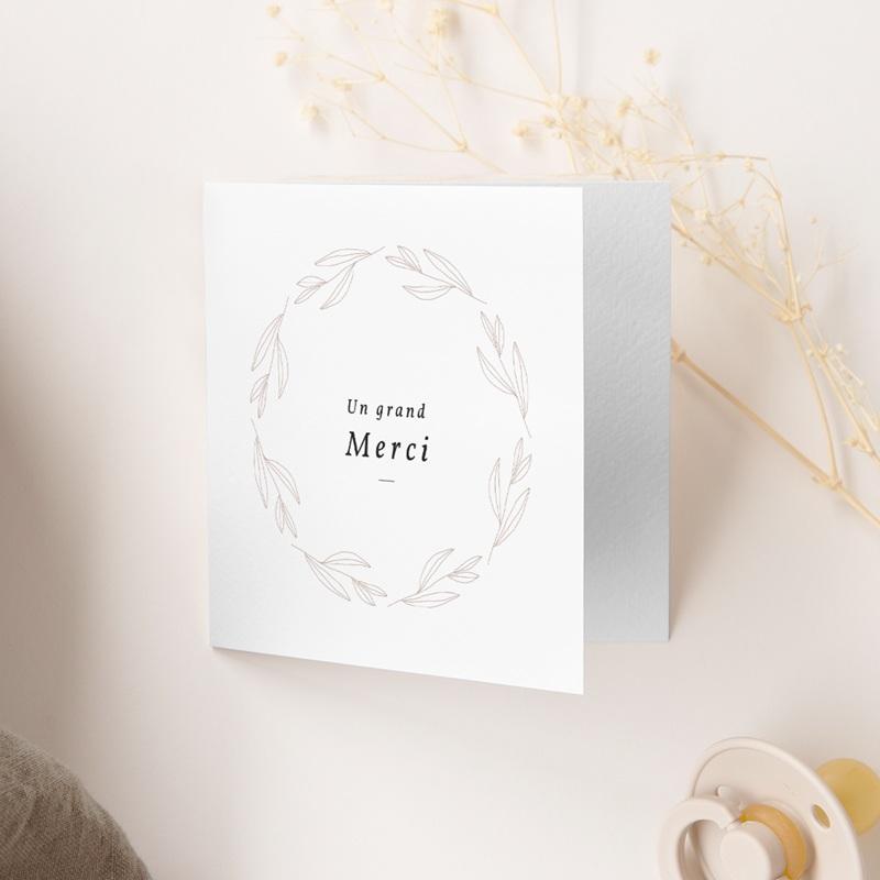 Carte de Remerciement Naissance Couronne Monochrome Blanc, 9,5 x 9,5 gratuit
