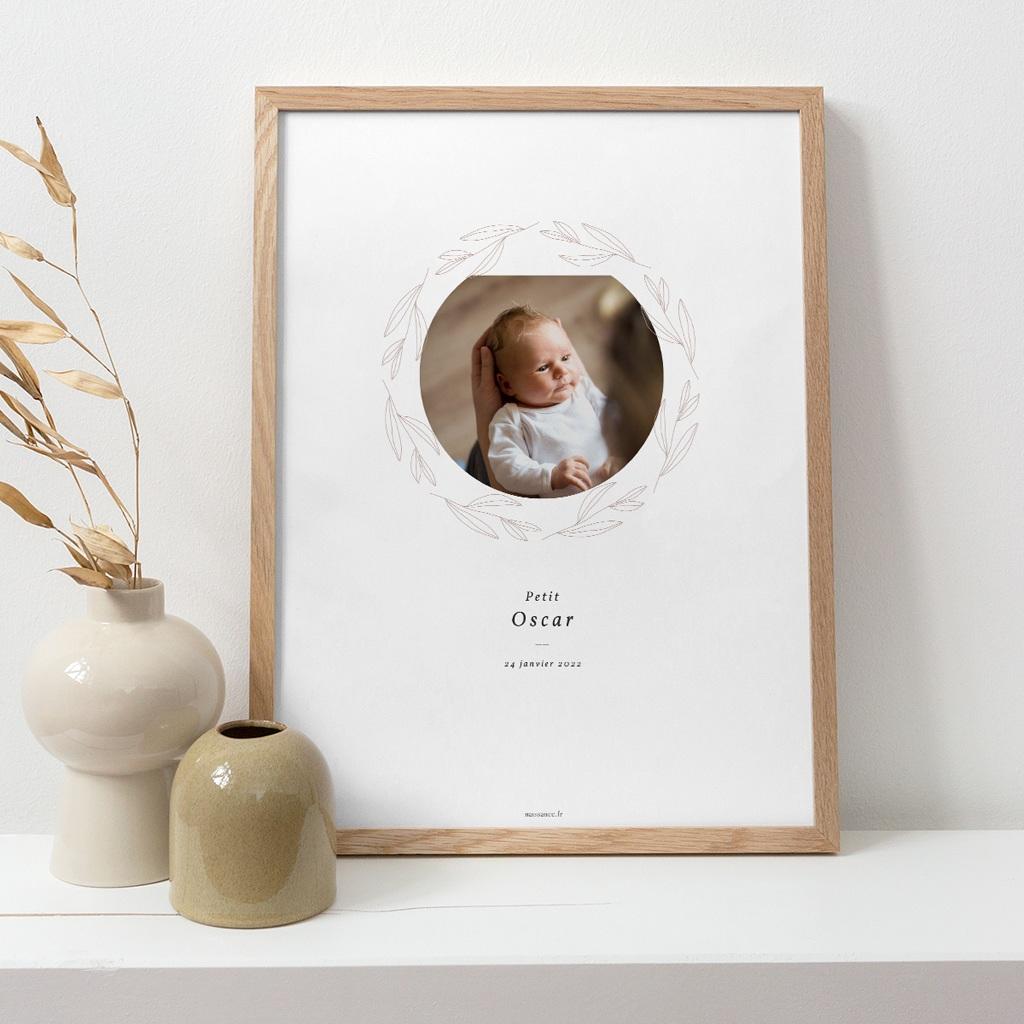 Affiche Déco Chambre Enfant Couronne Monochrome Blanc, Photo pas cher