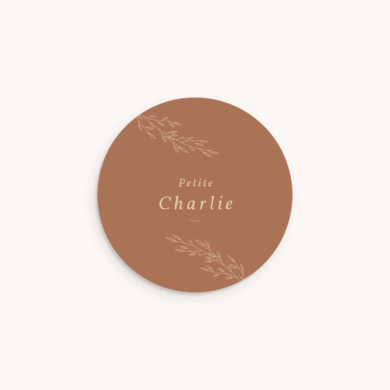 Sticker Enveloppe Naissance Couronne monochrome Caramel, sticker