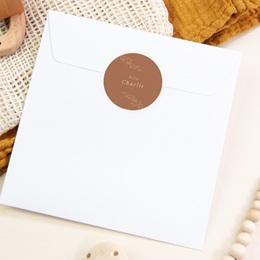 Sticker Enveloppe Naissance Couronne monochrome Caramel, sticker pas cher