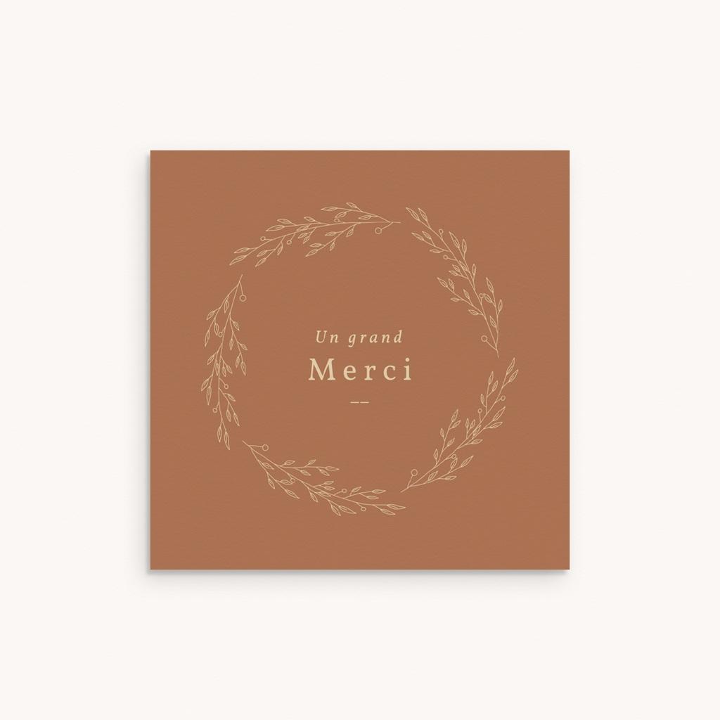 Carte de Remerciement Naissance Couronne Caramel, 9,5 x 9,5 cm