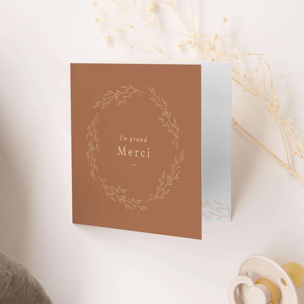 Carte de Remerciement Naissance Couronne Caramel, 9,5 x 9,5 cm gratuit