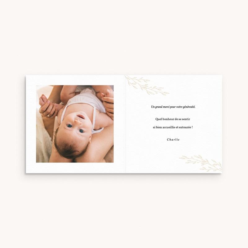 Carte de Remerciement Naissance Couronne Caramel, 9,5 x 9,5 cm pas cher