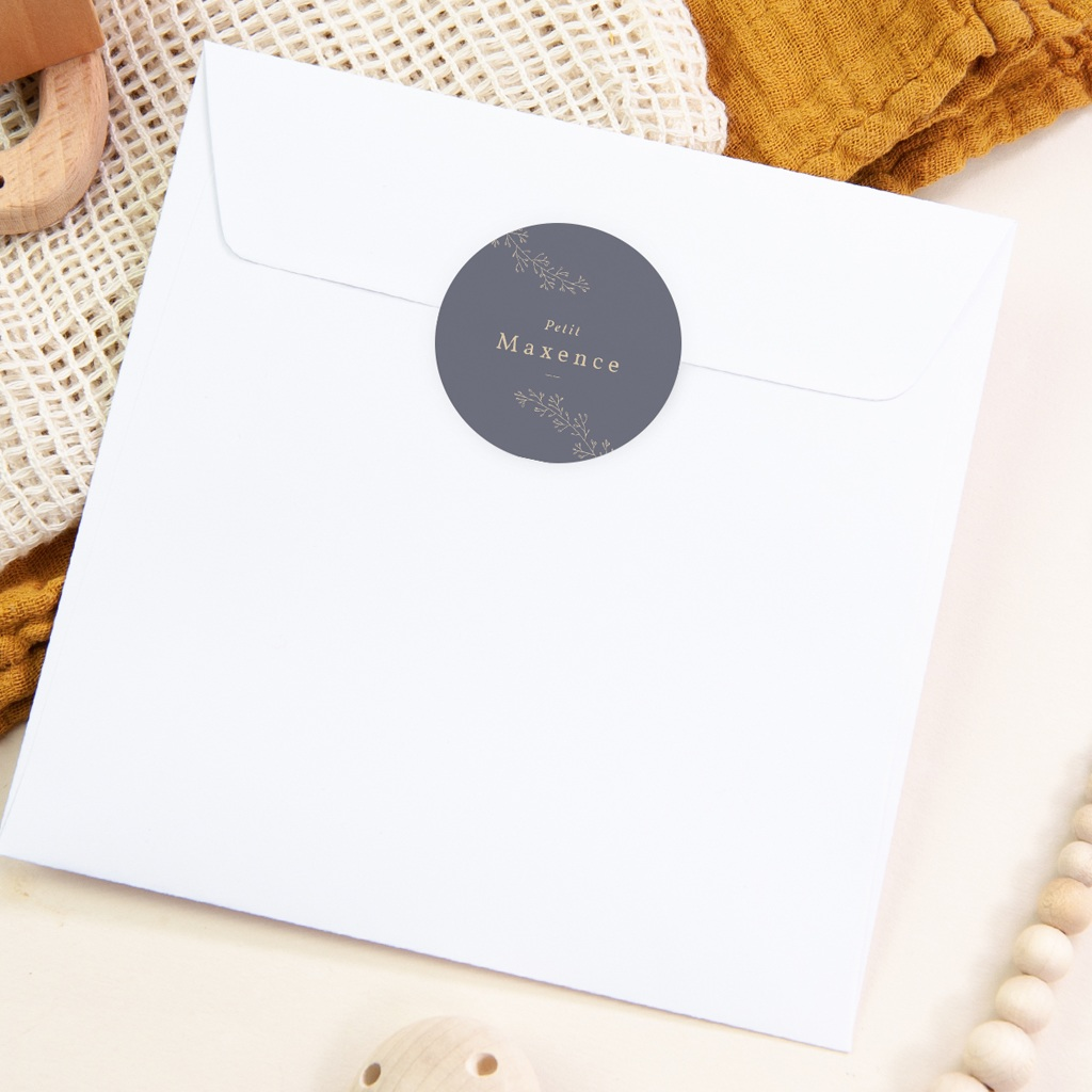Sticker Enveloppe Naissance Couronne florale bleu vintage, sticker pas cher
